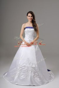 Fantastic White Satin Lace Up Strapless Sleeveless Wedding Dresses Brush Train Beading and Embroidery