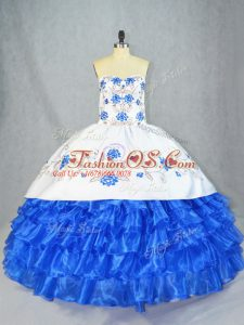 Blue And White Organza Lace Up Ball Gown Prom Dress Sleeveless Asymmetrical Embroidery and Ruffled Layers