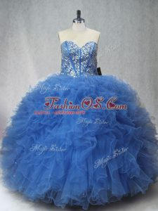 Floor Length Lace Up Quinceanera Gown Blue for Sweet 16 and Quinceanera with Beading and Ruffles