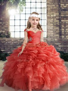 Simple Floor Length Coral Red Girls Pageant Dresses Straps Sleeveless Lace Up