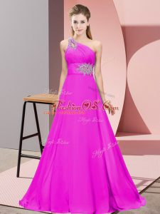 Customized Fuchsia Empire One Shoulder Sleeveless Chiffon Floor Length Lace Up Beading and Ruching Prom Gown