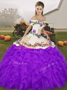 Suitable Purple Lace Up 15th Birthday Dress Embroidery and Ruffles Sleeveless Floor Length