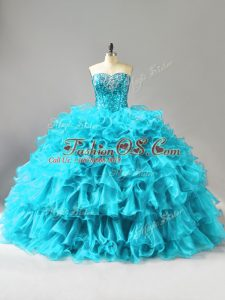 Most Popular Ball Gowns Quince Ball Gowns Aqua Blue Sweetheart Organza Sleeveless Floor Length Lace Up