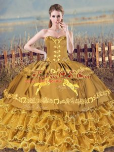 New Style Brown Ball Gowns Embroidery and Ruffles Quince Ball Gowns Lace Up Organza Sleeveless