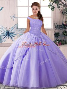 New Style Lace Up Quinceanera Dresses Lavender for Military Ball and Sweet 16 and Quinceanera with Beading Brush Train