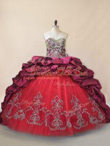 Fashion Taffeta and Tulle Sleeveless Sweet 16 Dress Brush Train and Beading and Pick Ups