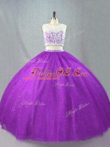 Fancy Floor Length Purple Sweet 16 Dresses Scoop Sleeveless Zipper