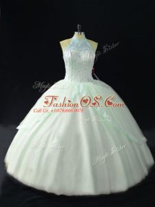 Apple Green Quinceanera Gown Sweet 16 and Quinceanera with Beading Halter Top Sleeveless Lace Up