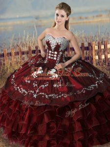 Burgundy Sweetheart Lace Up Embroidery and Ruffles Ball Gown Prom Dress Sleeveless