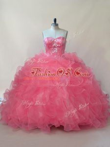 Custom Made Coral Red Sleeveless Organza Lace Up Quinceanera Dress for Sweet 16 and Quinceanera
