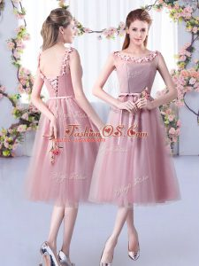 Pink Empire Scoop Sleeveless Tulle Tea Length Lace Up Appliques and Belt Court Dresses for Sweet 16