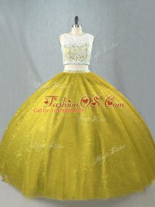 On Sale Tulle Sleeveless Floor Length Quinceanera Gown and Beading
