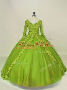 Dramatic Olive Green Ball Gowns Tulle V-neck Long Sleeves Lace and Appliques Side Zipper Quince Ball Gowns
