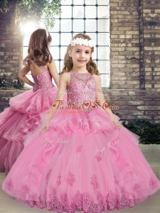 Sleeveless Tulle Floor Length Lace Up Kids Formal Wear in Lilac with Beading and Appliques