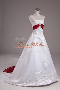 High Class White Wedding Gowns Strapless Sleeveless Brush Train Lace Up