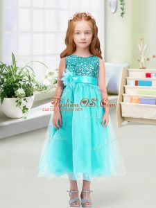 Traditional Aqua Blue Scoop Zipper Sequins and Hand Made Flower Flower Girl Dress Sleeveless