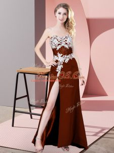 New Arrival Rust Red Ball Gowns Lace and Appliques Celebrity Prom Dress Zipper Chiffon Sleeveless Floor Length