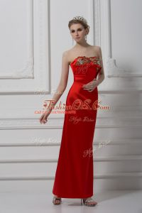 Sophisticated Ankle Length Red Prom Evening Gown Satin Sleeveless Beading and Appliques