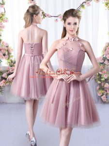Appliques and Belt Quinceanera Court of Honor Dress Pink Lace Up Sleeveless Knee Length