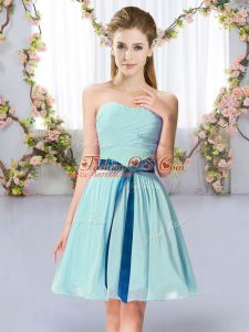 Most Popular Sweetheart Sleeveless Chiffon Wedding Party Dress Belt Lace Up