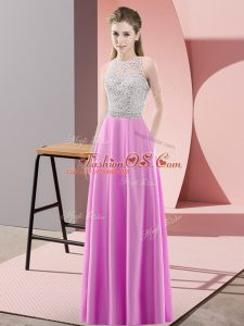 Floor Length Backless Dress Like A Star Lilac for Prom and Party with Beading