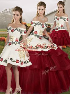Low Price Wine Red Tulle Lace Up Sweet 16 Quinceanera Dress Sleeveless Brush Train Embroidery and Ruffled Layers