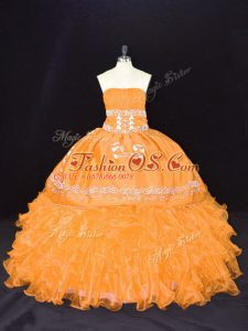 Trendy Floor Length Lace Up 15th Birthday Dress Gold for Sweet 16 and Quinceanera with Embroidery and Ruffles