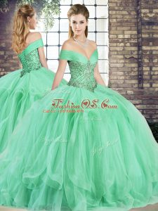 Hot Selling Apple Green Quinceanera Dress Military Ball and Sweet 16 and Quinceanera with Beading and Ruffles Off The Shoulder Sleeveless Lace Up