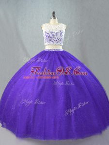 Custom Designed Floor Length Two Pieces Sleeveless Purple Quinceanera Dresses Zipper