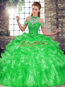 Organza Sleeveless Floor Length Quinceanera Gowns and Beading and Ruffles