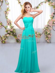 Cute Aqua Blue Sleeveless Hand Made Flower Floor Length Quinceanera Court of Honor Dress