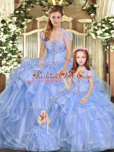 Designer Lavender Strapless Neckline Beading and Ruffles Quinceanera Gown Sleeveless Lace Up