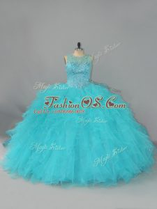 Floor Length Aqua Blue 15 Quinceanera Dress Scoop Sleeveless Lace Up
