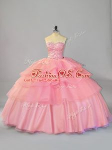 Watermelon Red Sleeveless Organza Brush Train Lace Up Quince Ball Gowns for Sweet 16 and Quinceanera