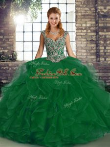 Straps Sleeveless Tulle Sweet 16 Dress Beading and Ruffles Lace Up