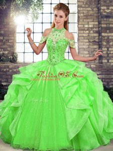 Sophisticated Floor Length Green Quinceanera Dress Halter Top Sleeveless Lace Up