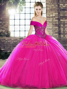 Off The Shoulder Sleeveless Brush Train Lace Up Vestidos de Quinceanera Fuchsia Organza