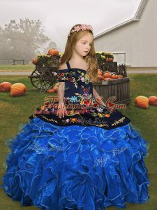 Nice Blue Lace Up Straps Embroidery and Ruffles Kids Formal Wear Organza Sleeveless