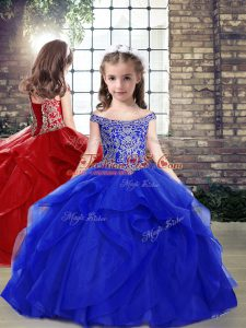 Affordable Royal Blue Organza Lace Up Kids Formal Wear Sleeveless Floor Length Beading