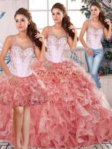 Captivating Sleeveless Clasp Handle Floor Length Beading and Ruffles 15 Quinceanera Dress