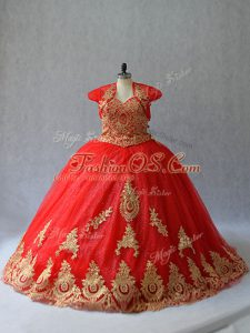 Red Sweetheart Lace Up Beading and Appliques Quinceanera Dress Court Train Sleeveless