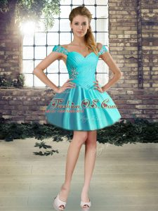 Sleeveless Lace Up Mini Length Beading Cocktail Dresses