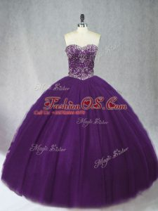 Simple Purple Lace Up Sweetheart Beading Quinceanera Dress Tulle Sleeveless