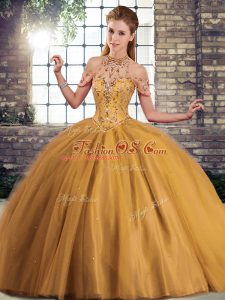 Chic Brown Lace Up Quinceanera Gown Beading Sleeveless Brush Train