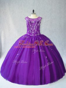 Sleeveless Beading and Appliques Lace Up Quince Ball Gowns