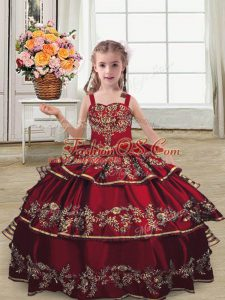 Elegant Straps Sleeveless Kids Formal Wear Floor Length Embroidery and Ruffled Layers Burgundy Satin