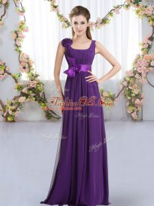 Sleeveless Chiffon Floor Length Zipper Bridesmaid Dresses in Purple with Belt and Hand Made Flower