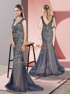 Custom Designed Navy Blue Sleeveless Tulle Sweep Train Zipper Evening Outfits for Prom and Party