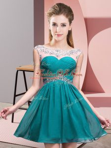 Teal Scoop Backless Beading and Ruching Club Wear Sleeveless
