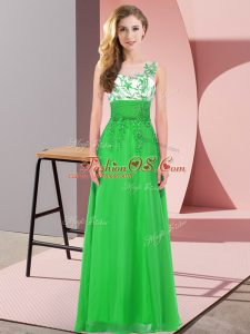 Sexy Chiffon Scoop Sleeveless Backless Appliques Damas Dress in Green
